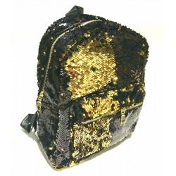 """Рюкзак кож.зам. 13613 """"Пайетки двухстор"""" Черный/Золото 32*25см"""