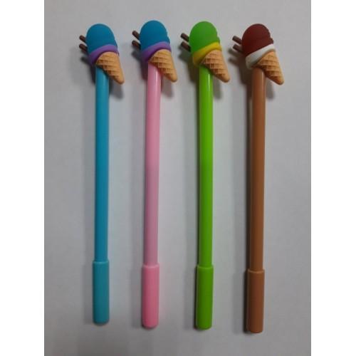 """Ручка детская шар. 8701 """"Мороженое"""" синяя (12уп)"""