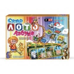 """Игра """" Супер лото"""" + азбука ЛА2 (русс.алф) 40 букв, 10 карточек, мешочек"""