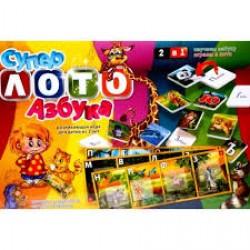 """Игра """" Супер лото"""" + азбука ЛА (УКРАИНСКИЙ.алф) 40 букв, 10 карточек, мешочек"""
