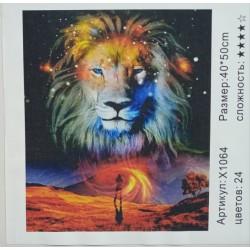 """Картина-раскраска по номерам на холсте 40*50  X1064 """"Лев """" (н-р акрил.красок 24цв+3 кисти)"""