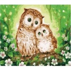 """Картина-раскраска по номерам на холсте 40*50  X1872 """"Зверушки """" (н-р акрил.красок 22цв+3 кисти)"""