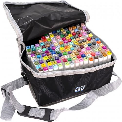 Набор двухстор. маркеров BV800-168 цветов для рисования  (круглый+скошен.) квадратн. в сумке