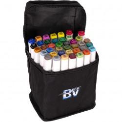 Набор двухстор. маркеров BV800-40 цветов для рисования  (круглый+скошен.) квадратн. в сумке