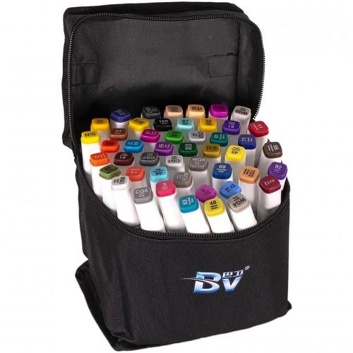Набор двухстор. маркеров BV800-48 цветов для рисования  (круглый+скошен.) квадратн. в сумке