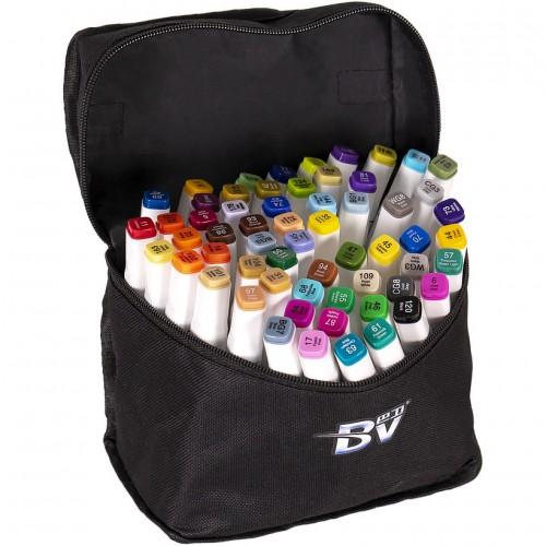 Набор двухстор. маркеров BV800-60 цветов для рисования  (круглый+скошен.) квадратн. в сумке