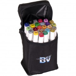 Набор двухстор. маркеров BV800-24 цветов для рисования  (круглый+скошен.) квадратн. в сумке