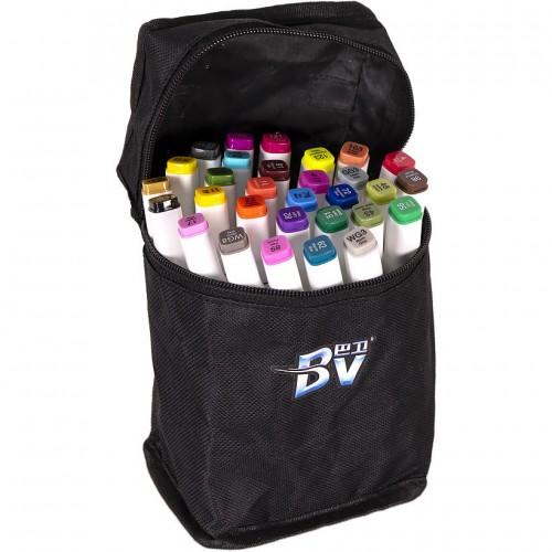 Набор двухстор. маркеров BV800-30 цветов для рисования  (круглый+скошен.) квадратн. в сумке