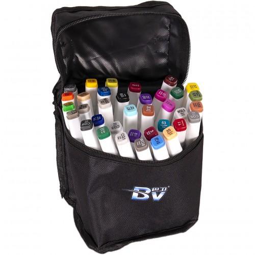 Набор двухстор. маркеров BV800-36 цветов для рисования  (круглый+скошен.) квадратн. в сумке